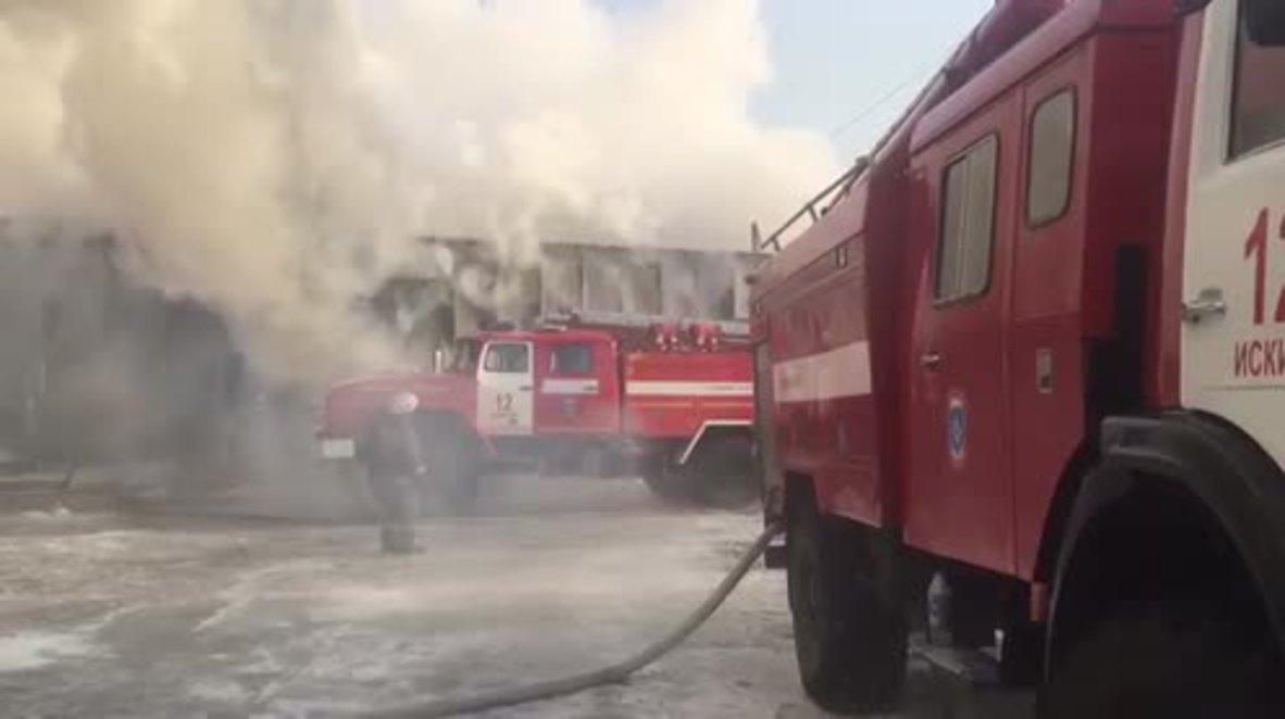 Rusia: Diez muertos en un devastador incendio en una fábrica de calzado en Novosibirsk