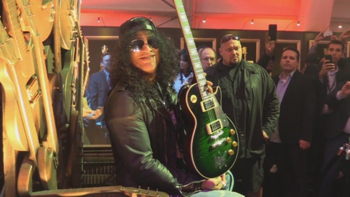 USA: Guns N' Roses star Slash rocks the Gibson tent at CES