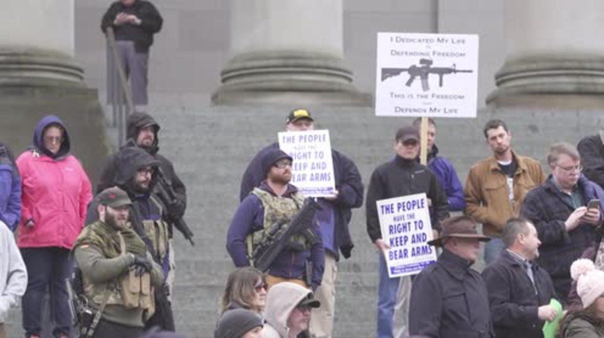 USA: Washington gun-lovers protest upcoming gun-control law discussion