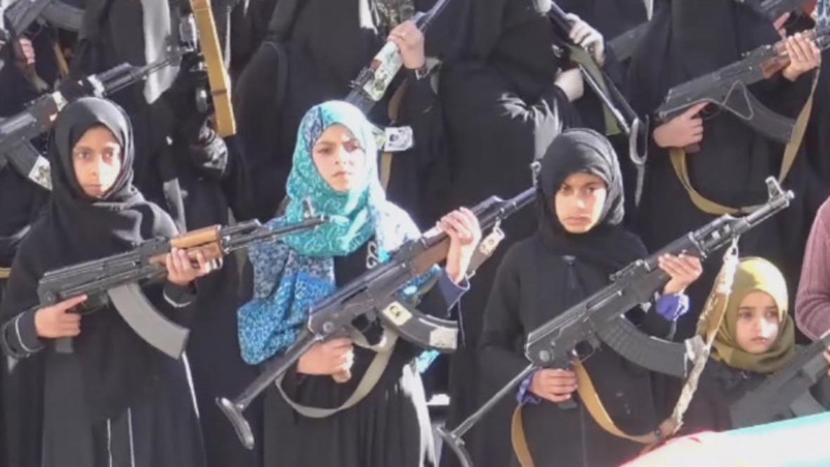 Yemen: Gun-toting women and children decry Saudi bombing
