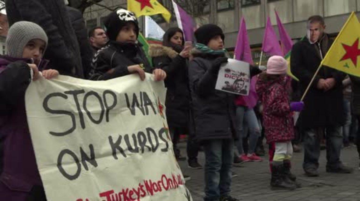 Denmark: Copenhagen's Kurdish community protests against Turkish operations in Afrin