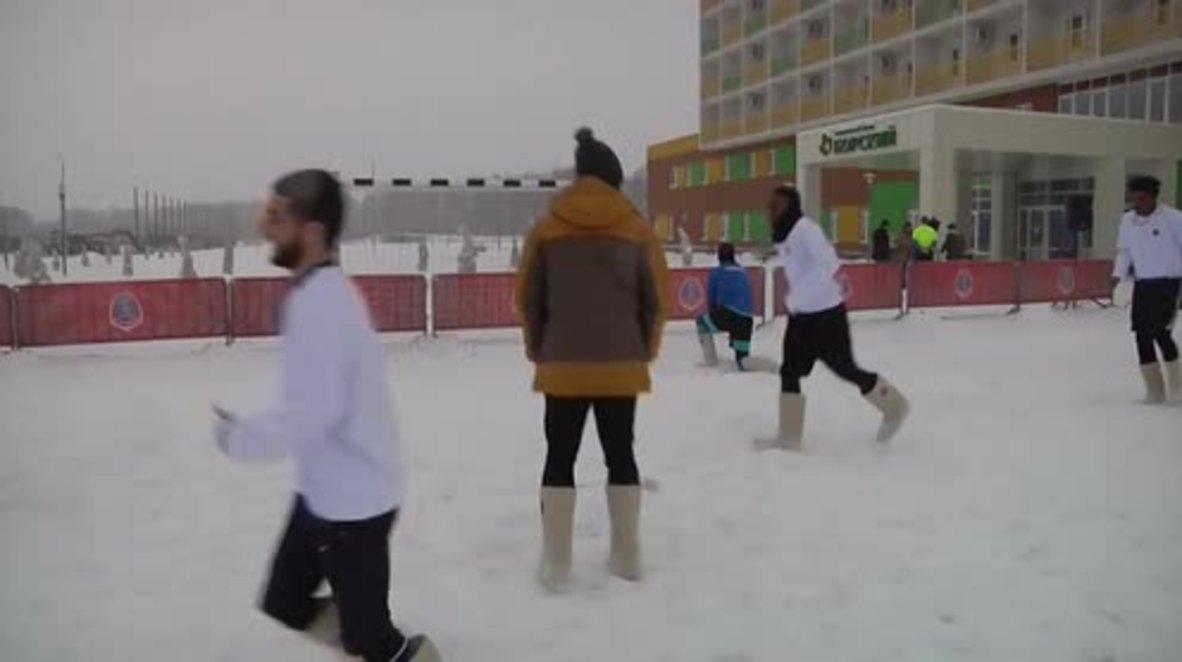 Can they kick it? - Nizhny Novgorod football players try out Valenki boots
