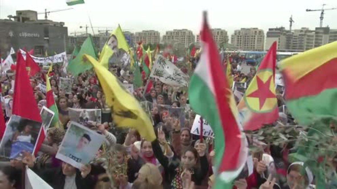 Lebanon: Pro-Kurdish activists protest outside US embassy over Afrin