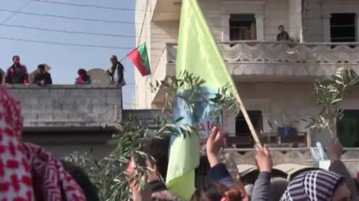 Siria: Manifestación en Afrin en contra de la ofensiva turca