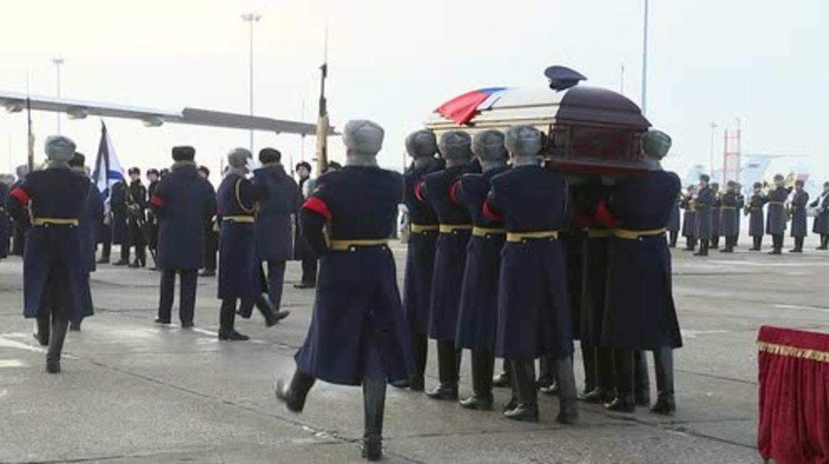 Rusia: Homenaje y ceremonia de despedida del héroe piloto asesinado en Siria.
