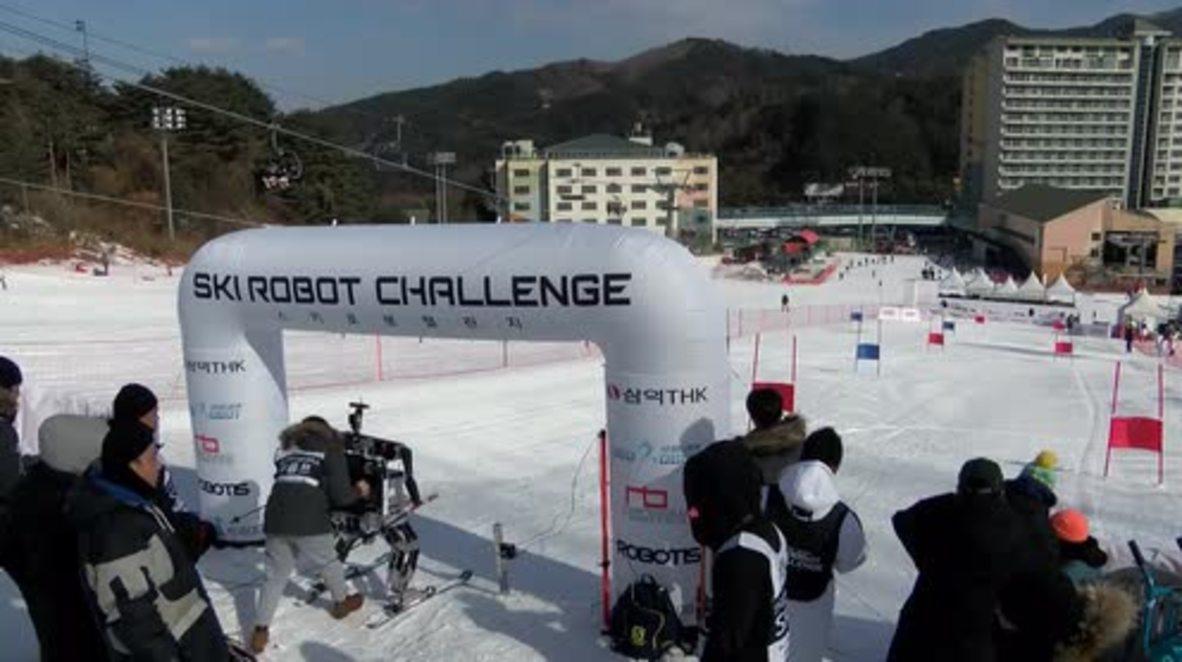 Corea del Sur: ROBOTS esquiadores muestran sus habilidades en las pendientes nevadas de los JJ.OO. de Invierno