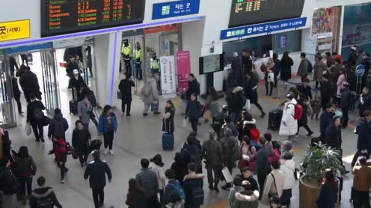 South Korea: Seoul station crowded ahead of Lunar New Year festivities