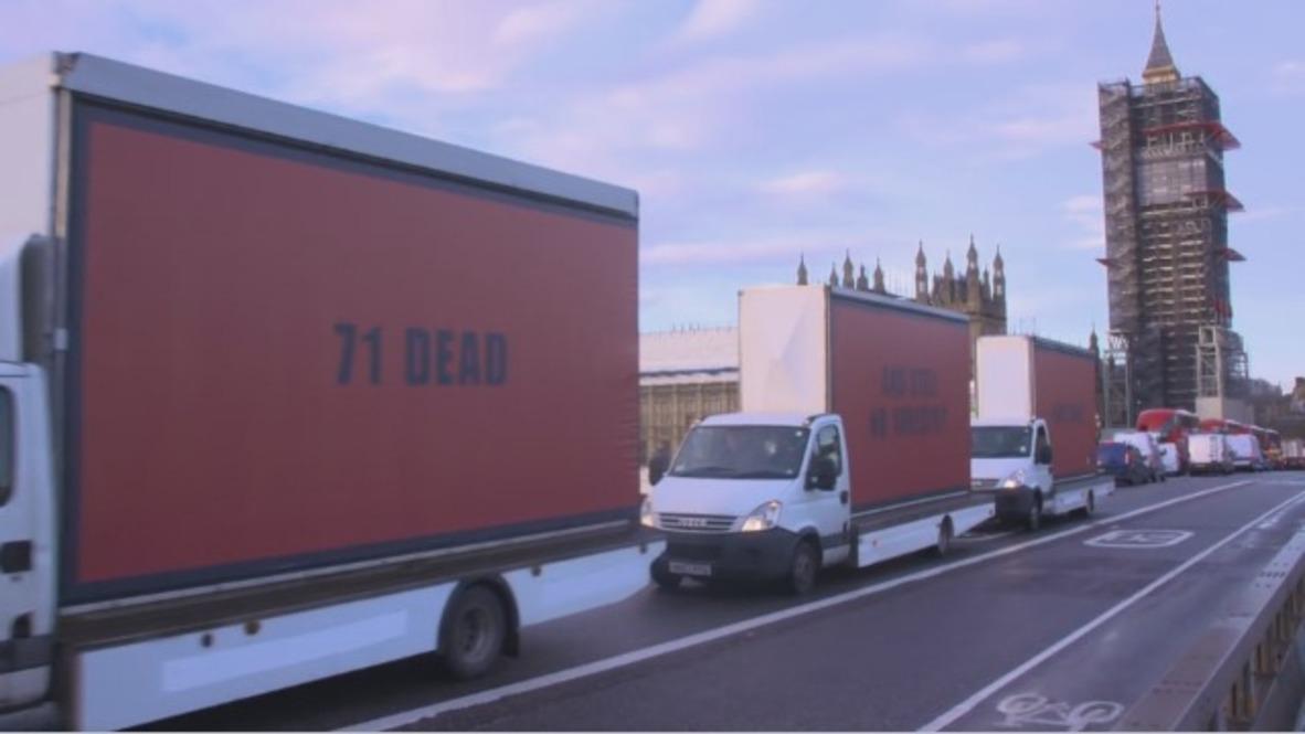 Reino Unido: Tres paneles exigen justicia para las víctimas de la torre Grenfell alrededor de Londres