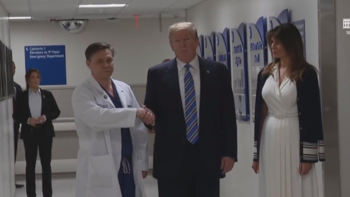 USA: Trump praises response time to Florida shooting while touring hospital