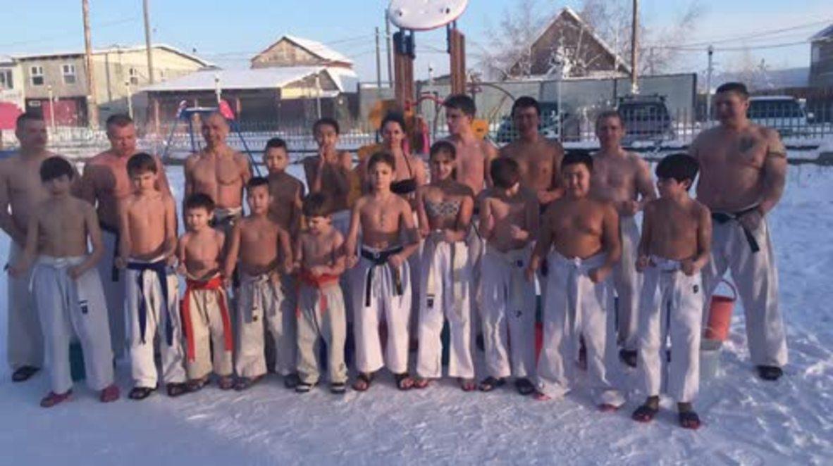 Rusia: Niños karatekas de Yakutsk muestran a DiCaprio que las temperaturas bajas no son nada más que un número en el termómetro