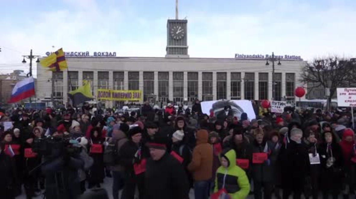 Russia: Hundreds mark anniversary of Nemtsov's death in St. Petersburg rally