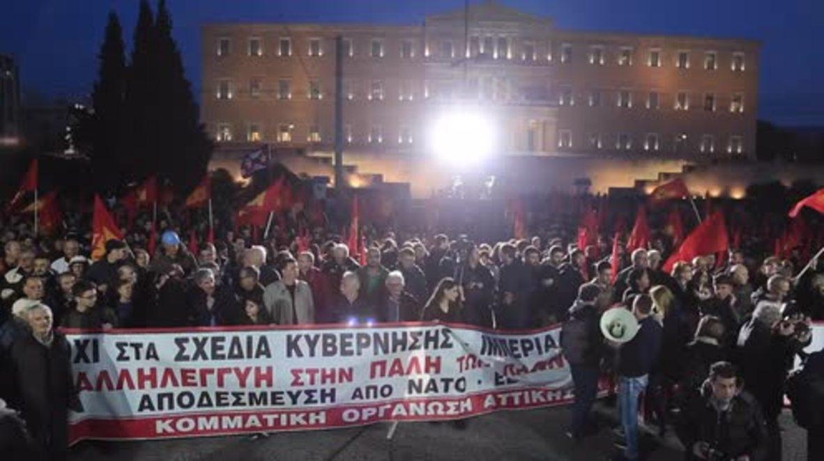 Grecia: El Partido Comunista lidera una manifestación masiva anti guerra en Atenas
