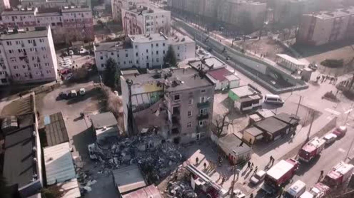 Polonia: Mueren 4 personas en colapso de un edificio de apartamentos en Poznan