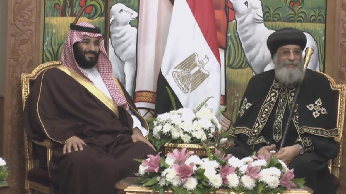 Egipto: Príncipe heredero de Arabia se reúne con el Papa Tawadros II en El Cairo