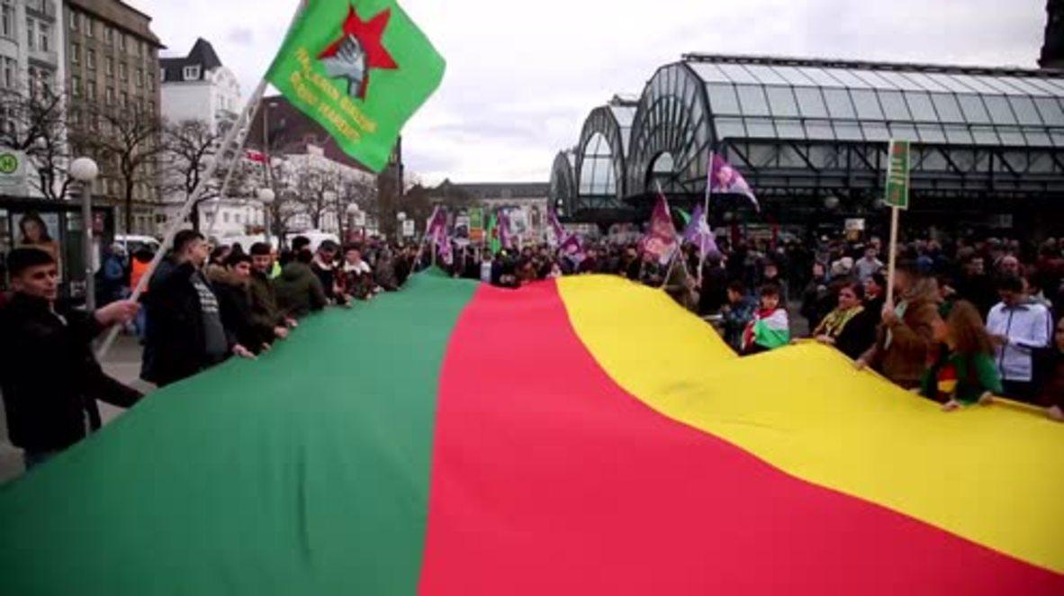 Alemania: Manifestantes prokurdos marchan por Afrín en Hamburgo