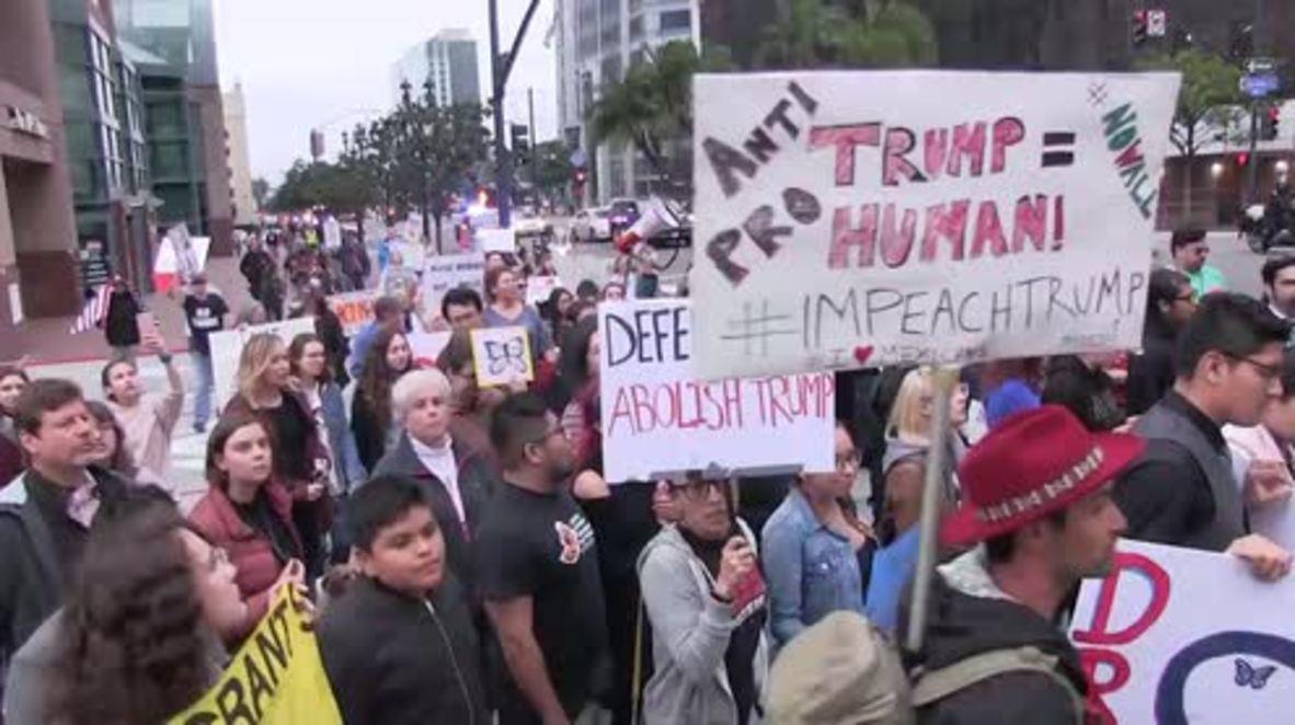 """EE.UU.: Los """"Dreamers"""" toman la calle en San Diego para protestar contra la visita de Donald Trump"""