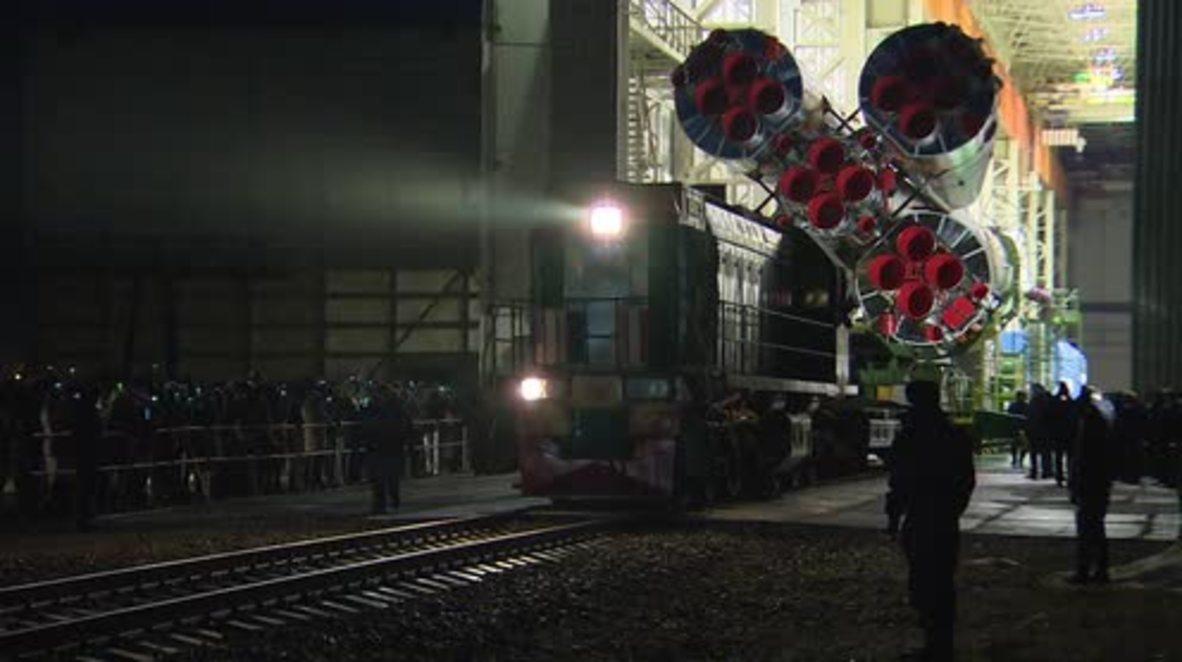 Kazakhstan: Soyuz MS-08 installed on launch pad at Baikonur cosmodrome