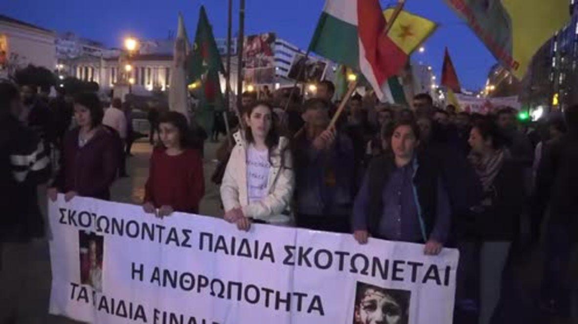 Grecia: Activistas pro kurdos marchan a través de Atenas hacia Afrin