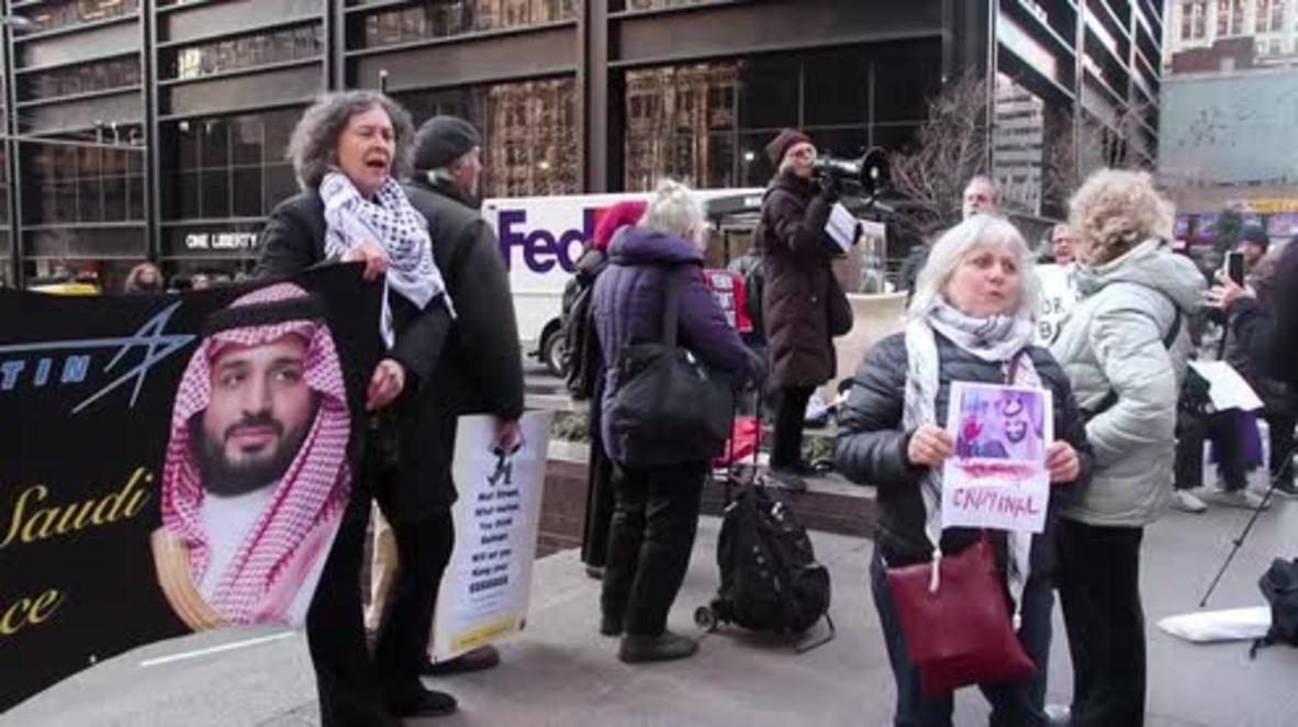 USA: Protesters decry visit of Saudi Crown Prince MBS to New York