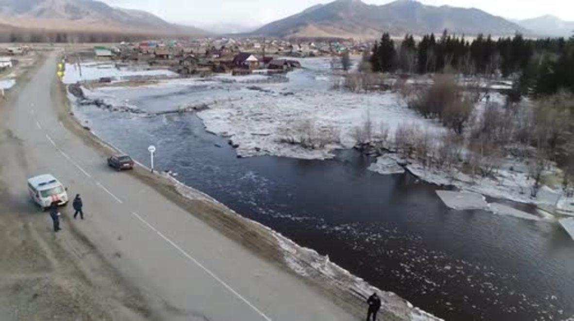 Rusia: Imágenes de drone capturan las grandes inundaciones en Altai Krai