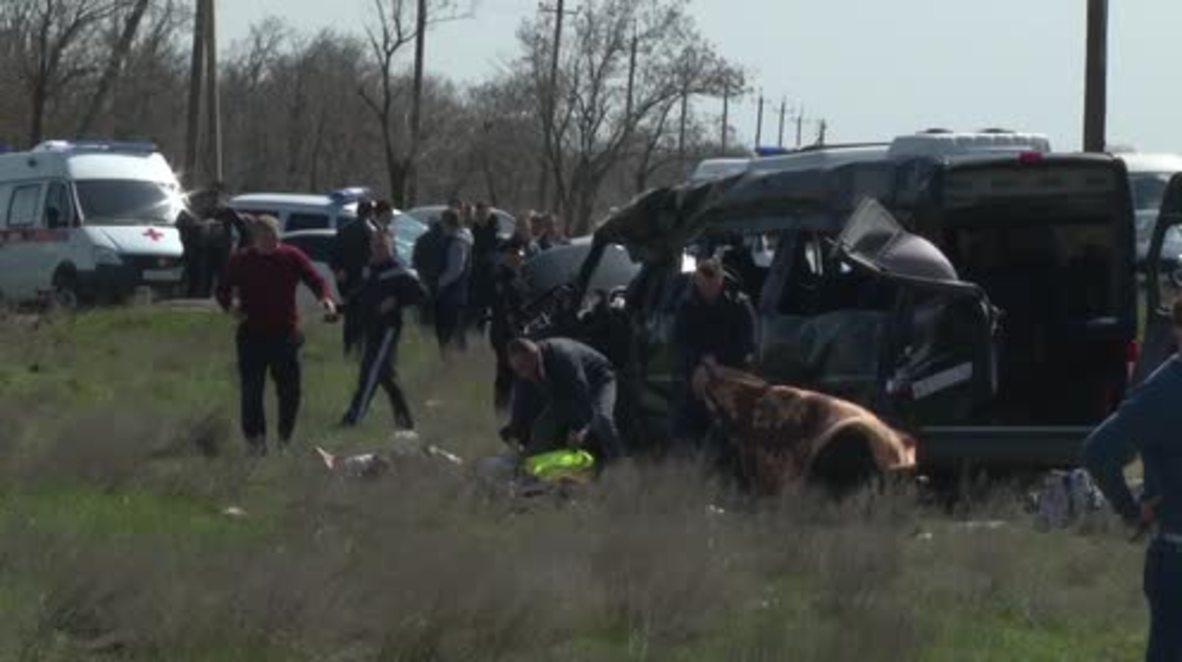 Russia: Five killed after minibus collides with train in Crimea - EMERCOM
