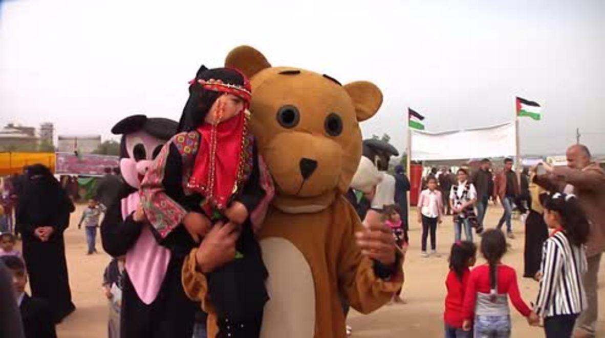 Estado de Palestina: Manifestantes disfrazados de animales se unen a la 'Marcha del Retorno' en Bureij