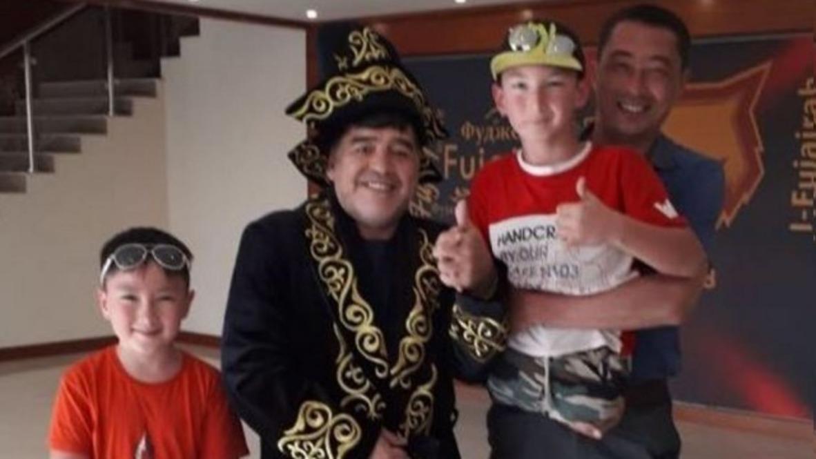 UAE: 'It felt like he's my grandfather' – legless Kazakh boy after training with Maradona *EXCLUSIVE*