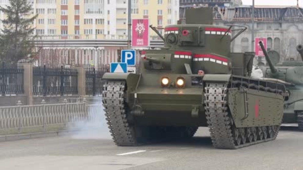 """Rusia: """"El mamut de Stalin"""", un legendario tanque soviético recreado para el Día de la Victoria"""