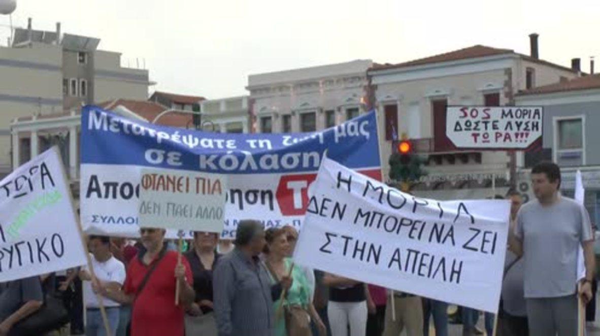 Grecia: Cientos de personas protestan contras las políticas migratorias de la UE en Lesbos