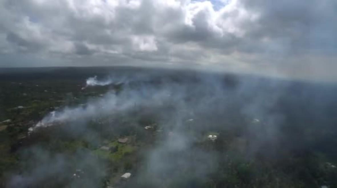 EE.UU.: Imágenes aéreas muestran el área afectada por la erupción del volcán Kilauea