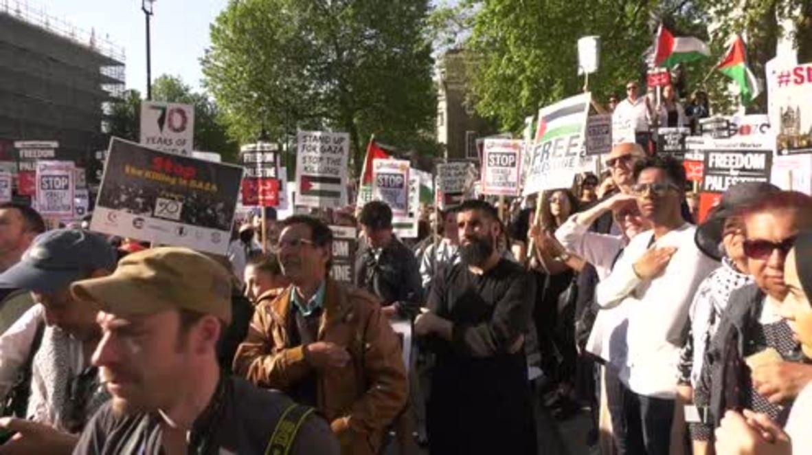 UK: Pro-Palestine demonstration held in London over Gaza protest deaths