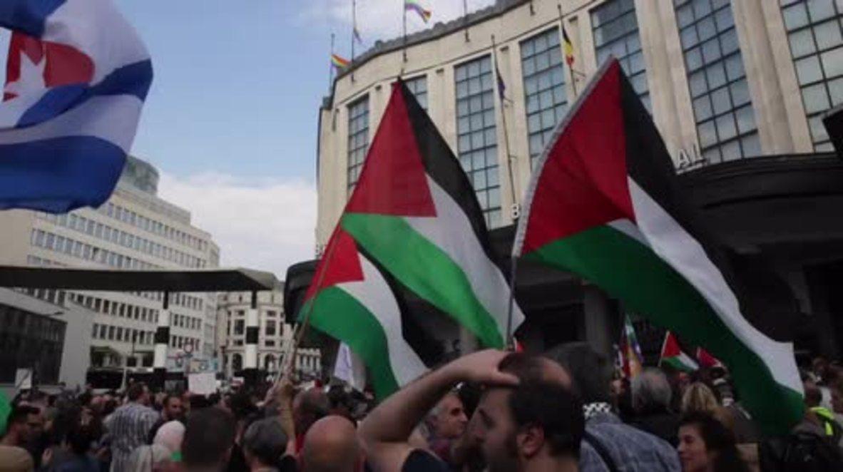 """Bélgica: Manifestantes de Bruselas piden que """"Detengan la masacre de Gaza"""