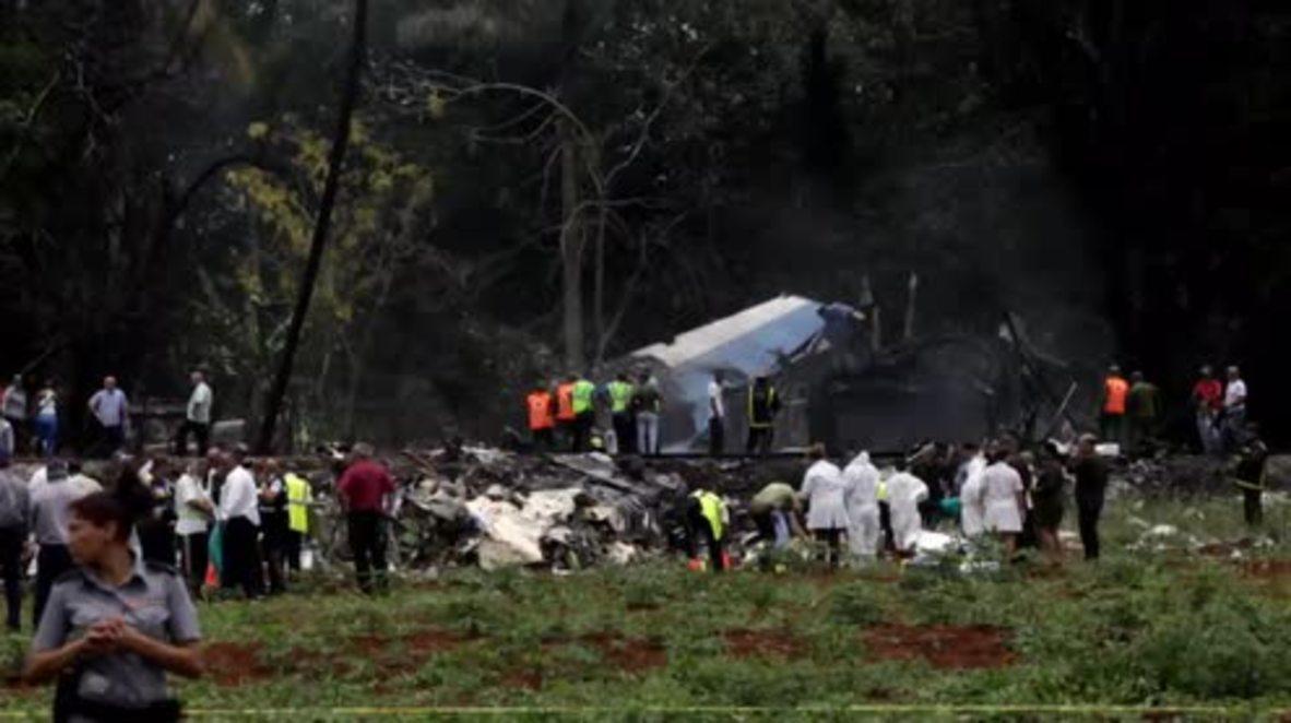 Cuba: Servicios de emergencia siguen en el lugar del accidente aéreo con más de 100 muertos