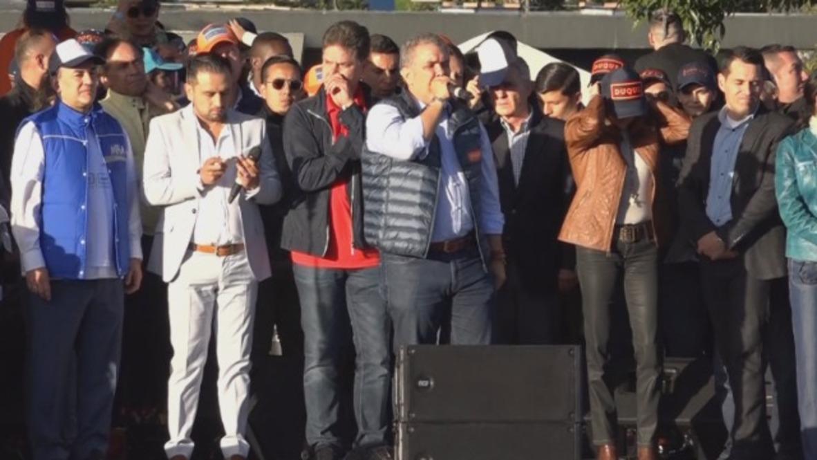 Colombia: Duque se dirige a sus simpatizantes en un mitin de final de campaña antes de las elecciones