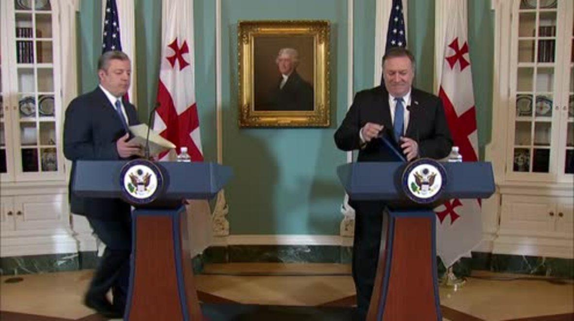 USA: Pompeo welcomes Georgian PM to Washington