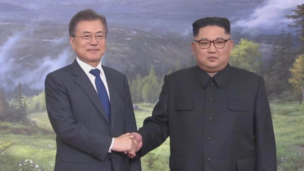 Korean DMZ: North and South Korean leaders meet in Panmunjom