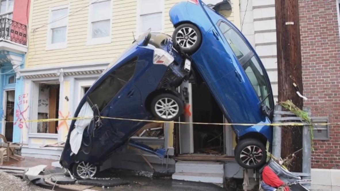 USA: Footage captures Ellicott City devastated after flash floods
