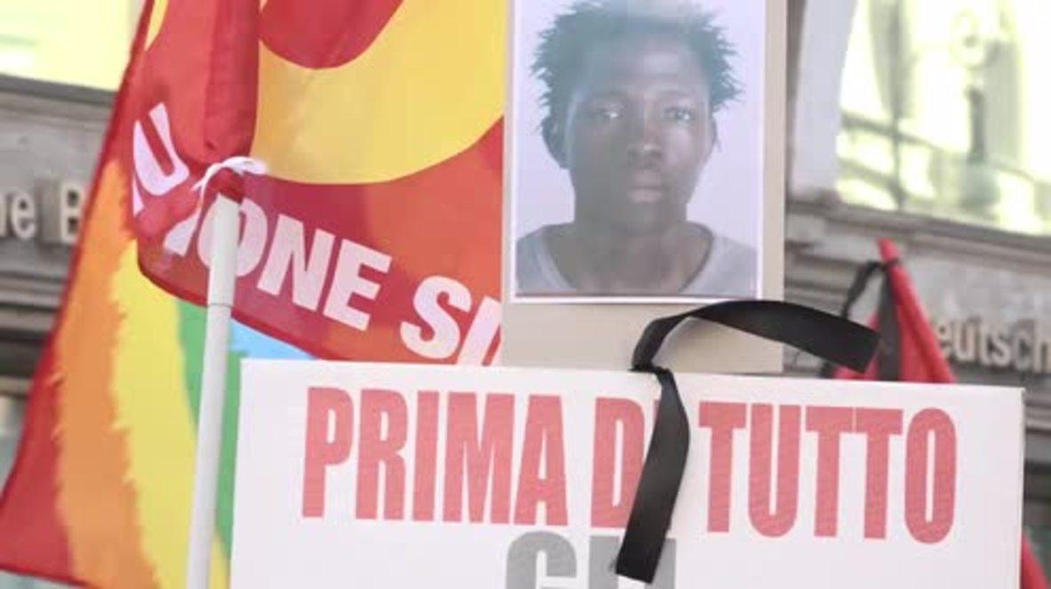 Italia: Protesta en Roma en solidaridad con la huelga por el asesinato de un migrante en Calabria