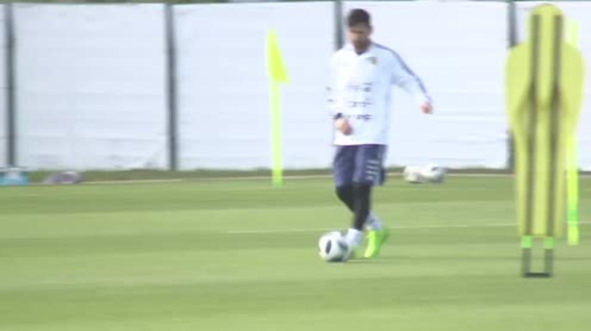 Rusia: Messi y el resto del equipo argentino se entrenan antes del inicio de la Copa del Mundo