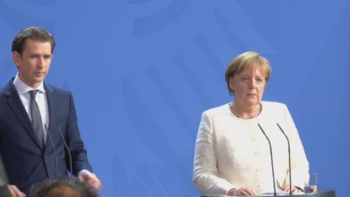 Germany: Merkel discusses refugee influx with Austria's Kurz in Berlin
