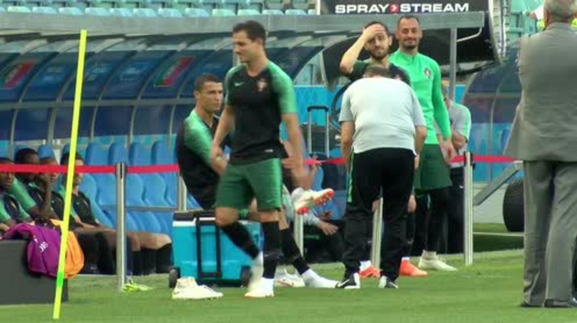 Rusia: Ronaldo entrena para el partido contra España en Sochi