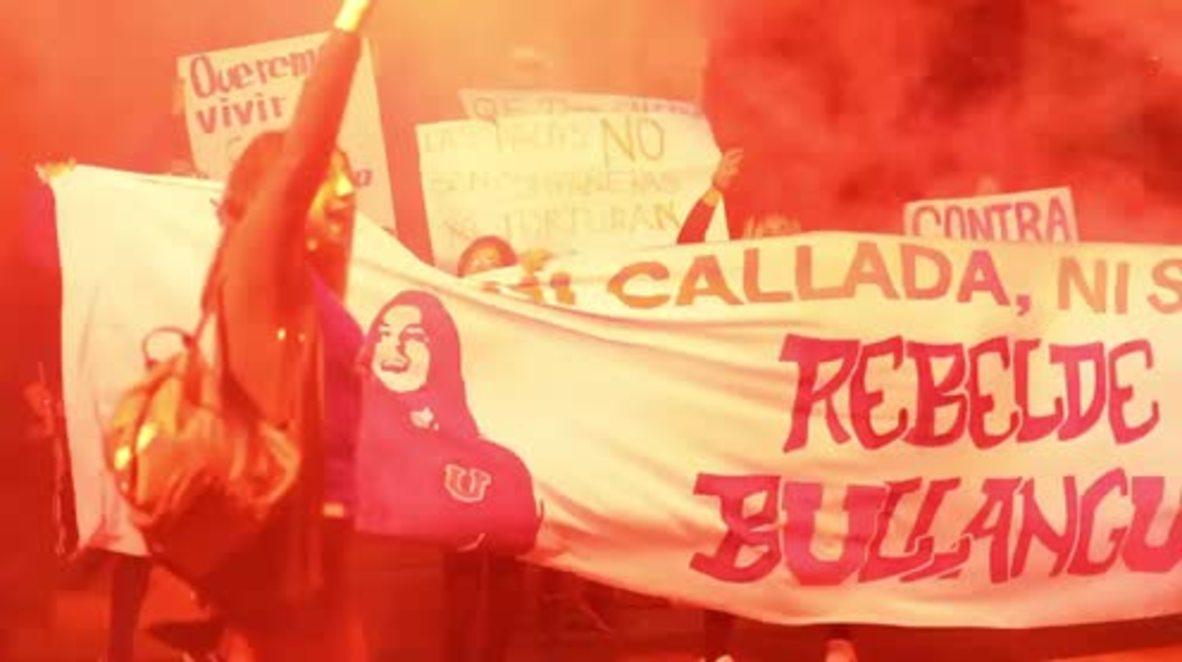 Chile: Una marcha de mujeres inunda las calles de Santiago para protestar contra el feminicidio