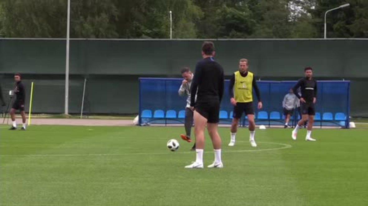 Rusia: La selección inglesa entrena antes de su partido contra Colombia en octavos de final del Mundial