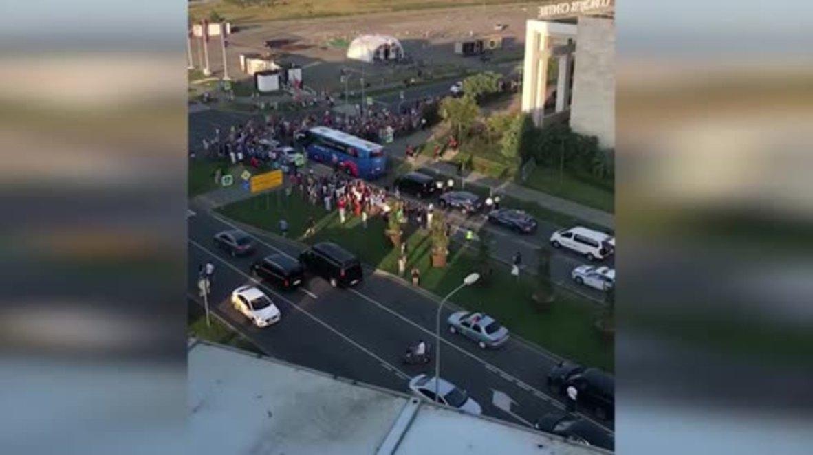 Russia: Delirious Ronaldo fans block Portugal bus before Uruguay clash