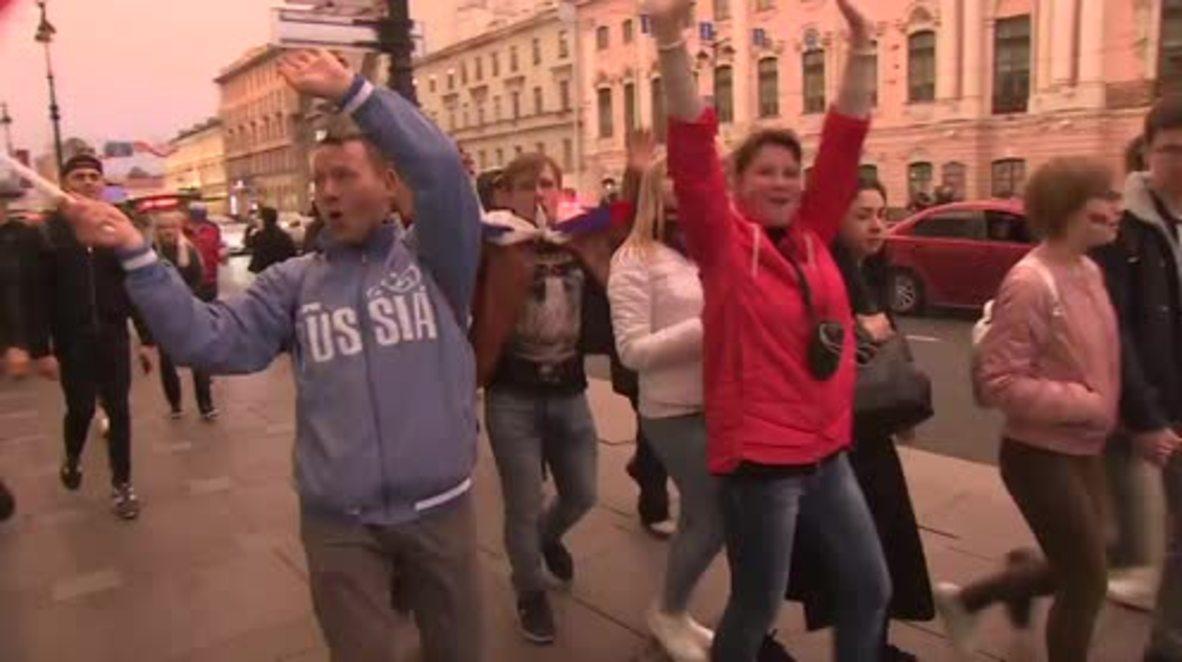 Rusia: Los moscovitas celebran eufóricos la victoria sobre España en los octavos de final del Mundial
