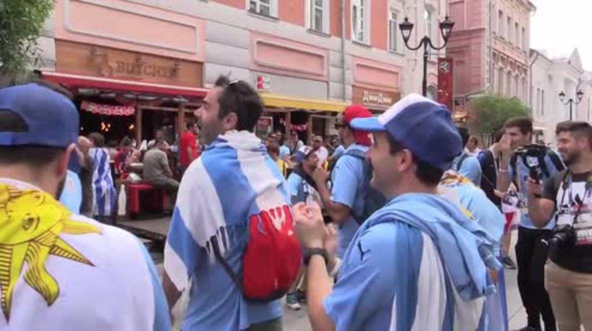 Russia: Uruguay and France fans take over Nizhny Novgorod