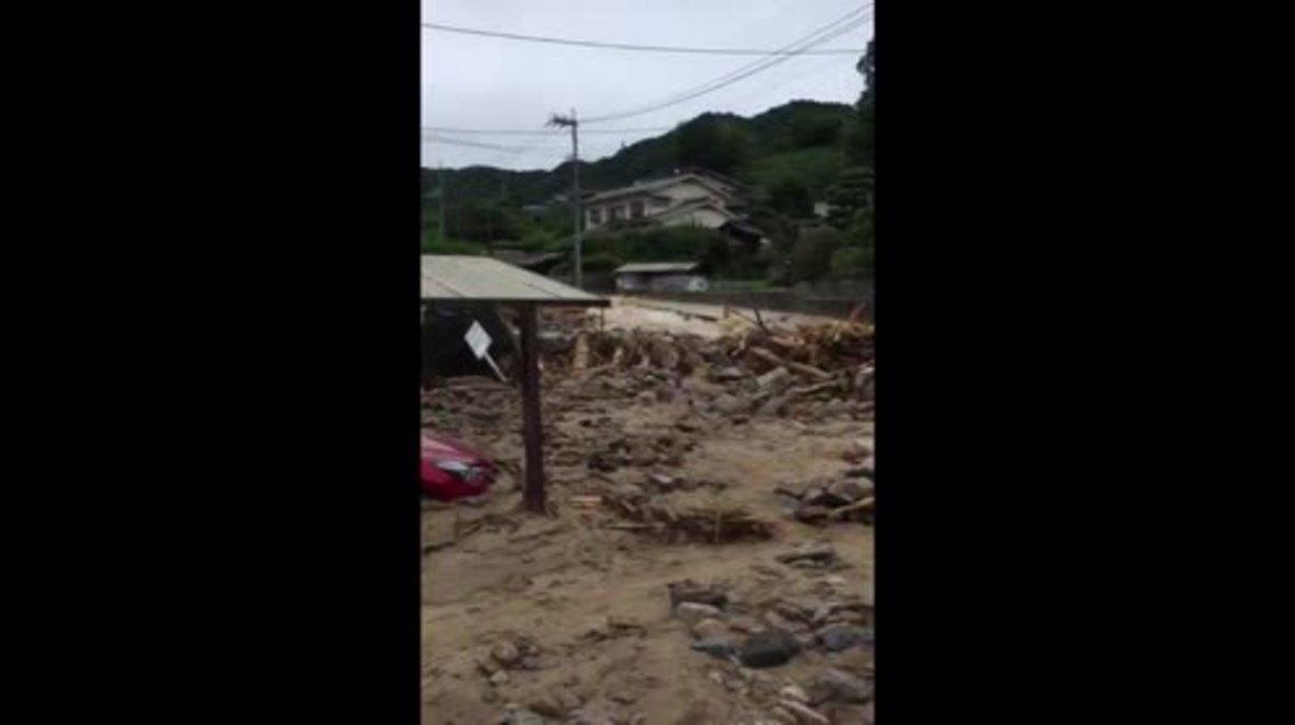 Japan: Floodwaters batter Hiroshima prefecture