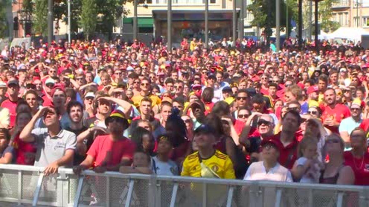 Bélgica: Estallido de alegría al anotar Bélgica el primer gol contra Inglaterra