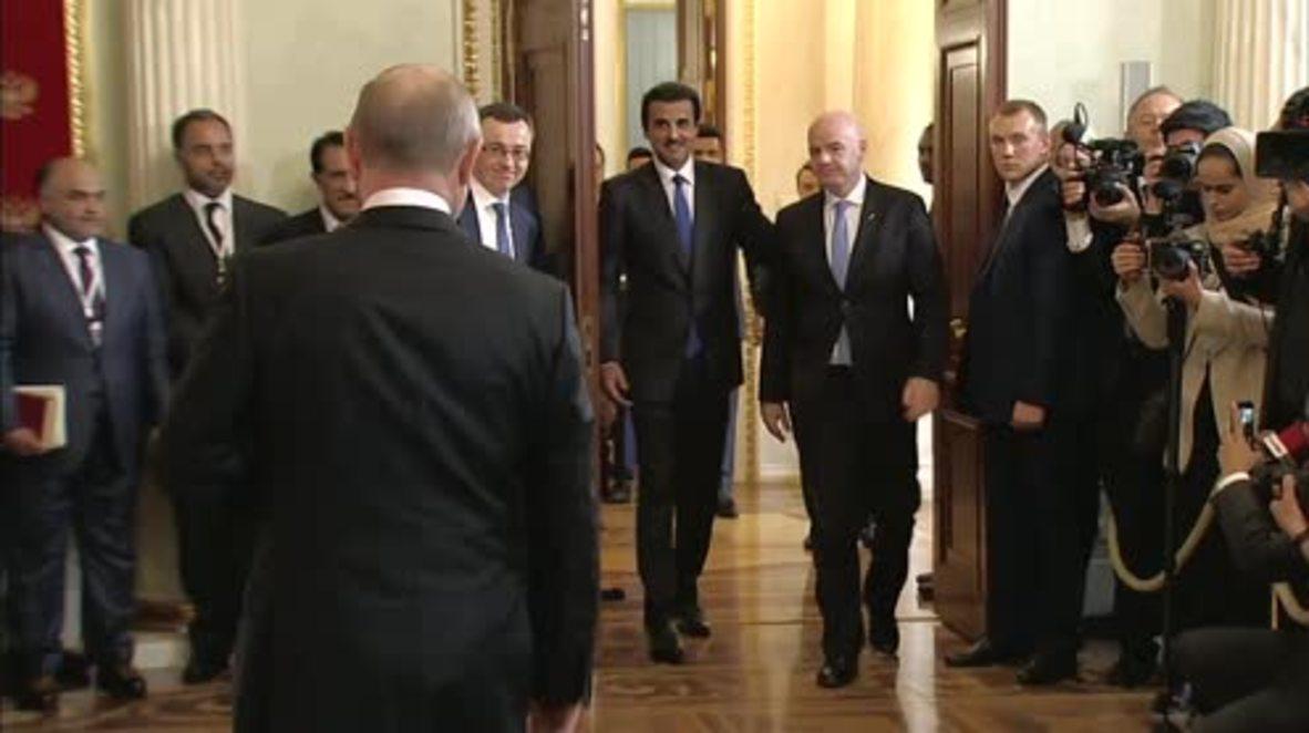 Russia: Putin hands World Cup host mantle to Qatari Emir