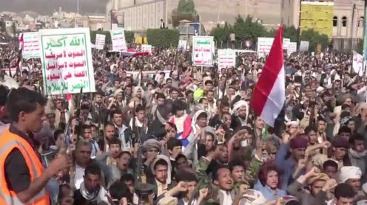 Yemen: Miles de personas protestan en Saná contra la coalición liderada por Arabia Saudí